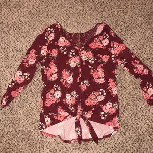 Wine🍷 3/4 sleeve floral top
